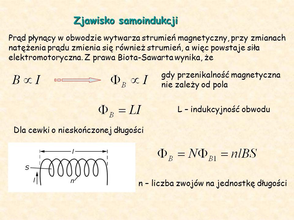 Pole magnetyczne wewnątrz nieskończonej cewki jest jednorodne L V – objętość cewki Pod wpływem zmian natężenia prądu powstaje siła elektromotoryczna =0 dla L = const prąd indukcyjny skierowany jest tak, aby przeciwdziałać przyczynie, która go wywołała – reguła Lenza