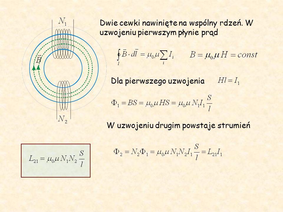 Energia zmagazynowana w polu magnetycznym K Klucz zamknięty - w cewce płynie prąd stały.