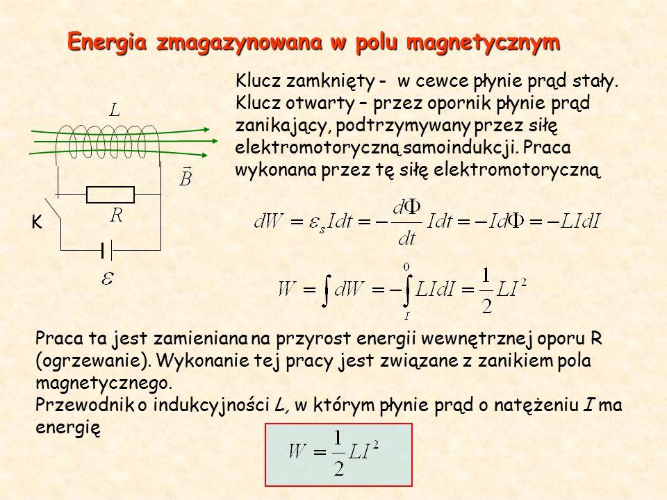 Podczas narastania prądu należy wykonać pracę przeciwko sile elektromotorycznej indukcji związanej z wytworzeniem pola magnetycznego W przypadku nieskończenie długiej cewki