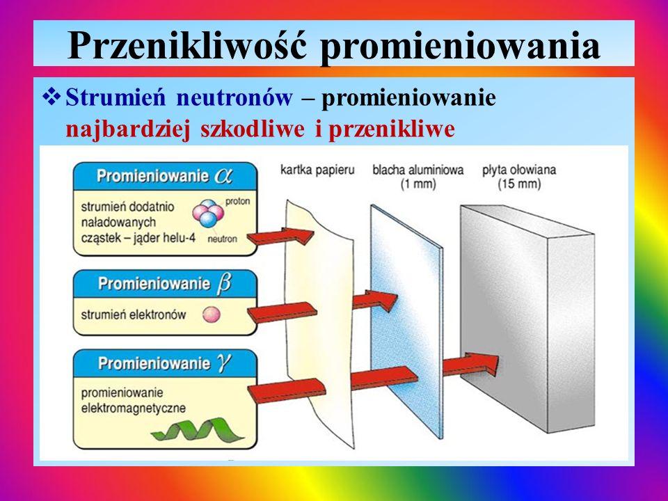 Przenikliwość promieniowania  Strumień neutronów – promieniowanie najbardziej szkodliwe i przenikliwe