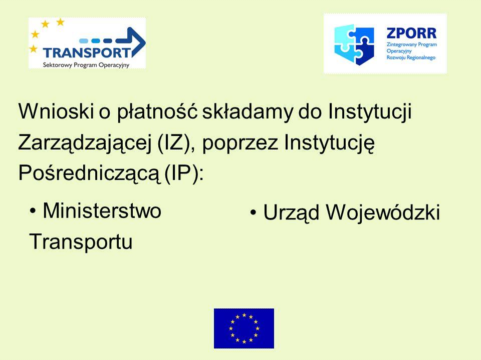 Ministerstwo Transportu Urząd Wojewódzki Wnioski o płatność składamy do Instytucji Zarządzającej (IZ), poprzez Instytucję Pośredniczącą (IP):