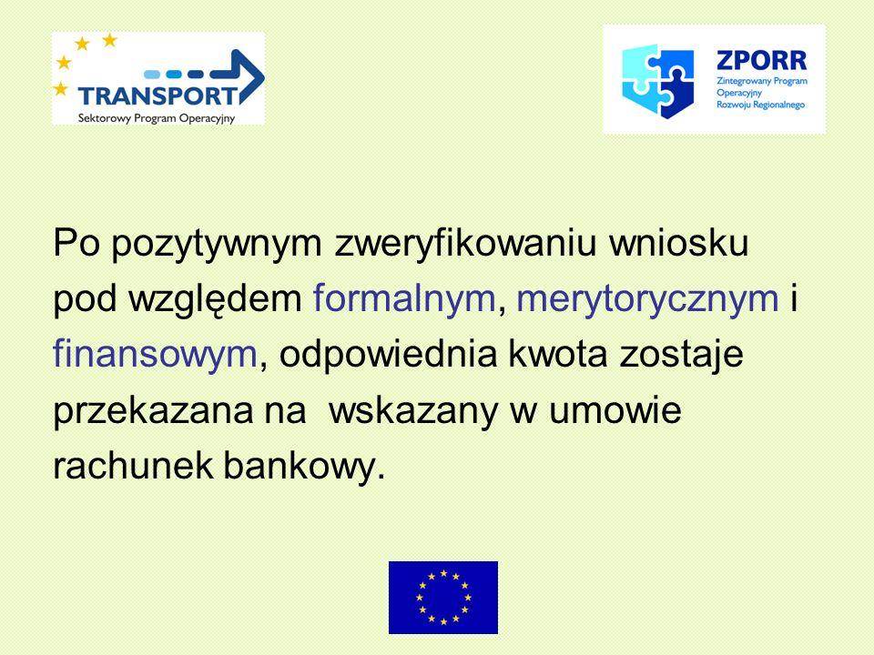Po pozytywnym zweryfikowaniu wniosku pod względem formalnym, merytorycznym i finansowym, odpowiednia kwota zostaje przekazana na wskazany w umowie rachunek bankowy.