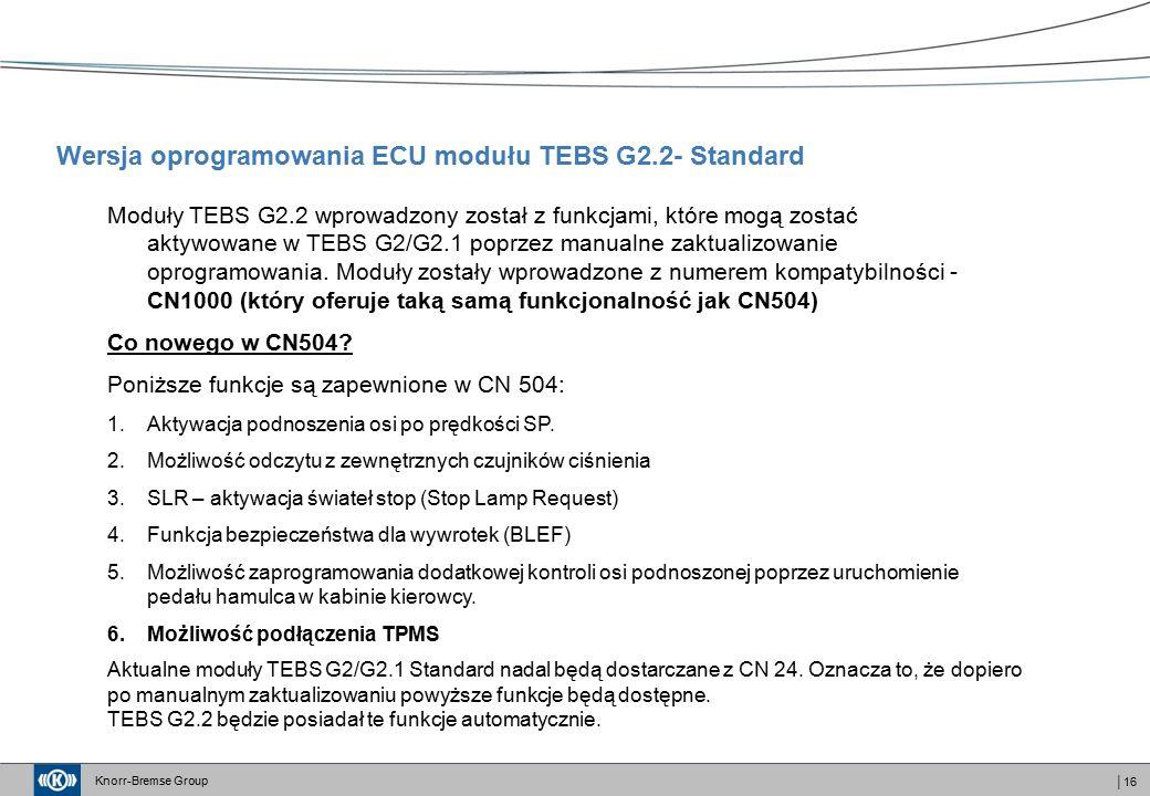 Knorr-Bremse Group │16 Wersja oprogramowania ECU modułu TEBS G2.2- Standard Moduły TEBS G2.2 wprowadzony został z funkcjami, które mogą zostać aktywowane w TEBS G2/G2.1 poprzez manualne zaktualizowanie oprogramowania.