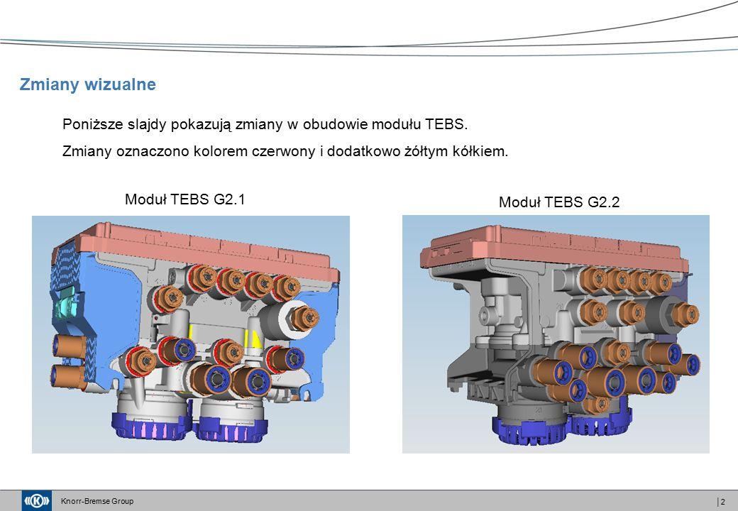 Knorr-Bremse Group │3 Moduł TEBS G2.1 Moduł TEBS G2.2 Wszystkie przyłącza siłowników hamulca roboczego zostały przeniesione do przedniej części modułu Zmiany wizualne