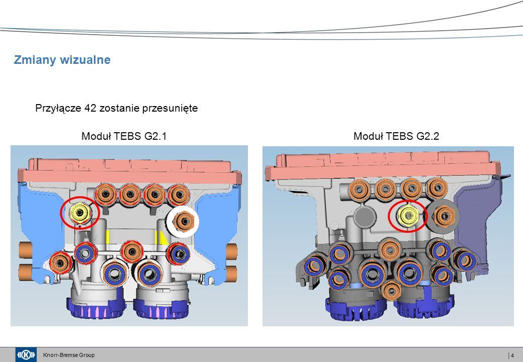 Knorr-Bremse Group │4 Przyłącze 42 zostanie przesunięte Moduł TEBS G2.1Moduł TEBS G2.2 Zmiany wizualne
