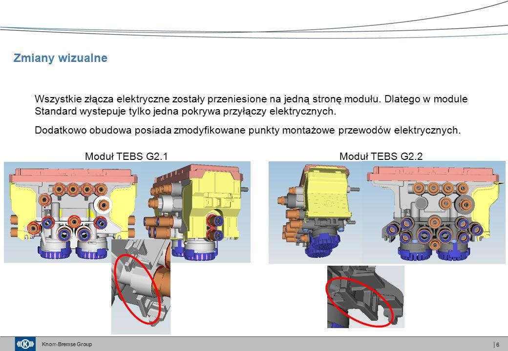 Knorr-Bremse Group │7 Podsumowanie - wszystkie przyłącza pneumatyczne są rozmieszczone w przedniej części modułu - przyłącze 42 zostało przesunięte - przyłącze 4 zostało przesunięte poniżej przyłaczy zasilania - przyłacze 28 (złącze kontrolne) posiada nowe oznaczenie - 29 oraz zostaje przesunięte w miejsce poprzedniego położenia złacza 4 - moduł posiada tylko jedną pokrywę przyłączy elektrycznych ponieważ przyłacza elektryczne zostały przeniesione na jednąstronę - zmodyfikowano punkty montażowe przewodów elektrycznych Zmiany wizualne