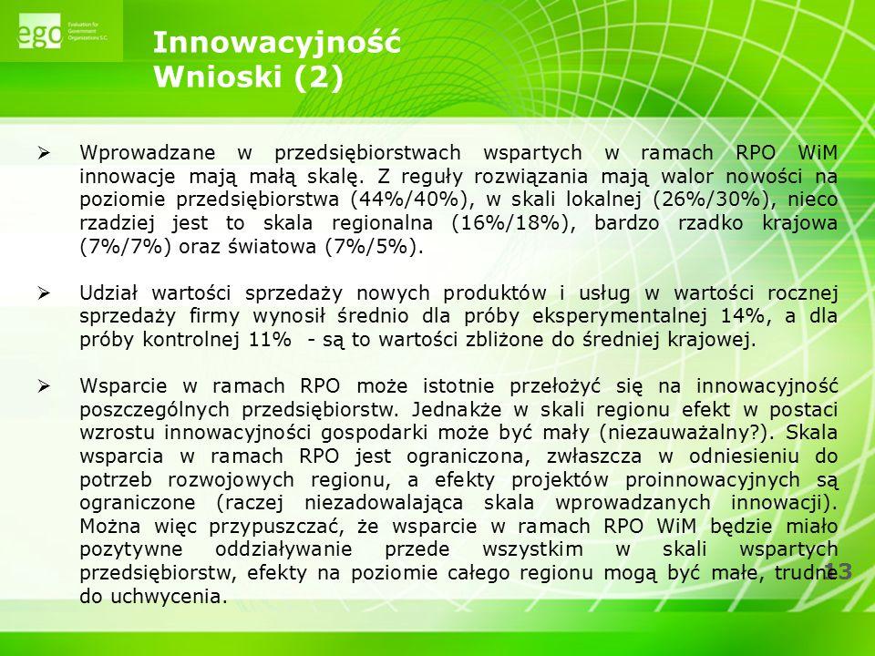 13 Innowacyjność Wnioski (2)  Wprowadzane w przedsiębiorstwach wspartych w ramach RPO WiM innowacje mają małą skalę. Z reguły rozwiązania mają walor