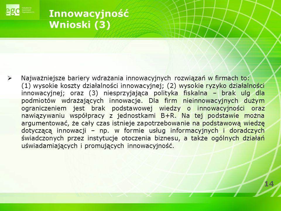 14 Innowacyjność Wnioski (3)  Najważniejsze bariery wdrażania innowacyjnych rozwiązań w firmach to: (1) wysokie koszty działalności innowacyjnej; (2)