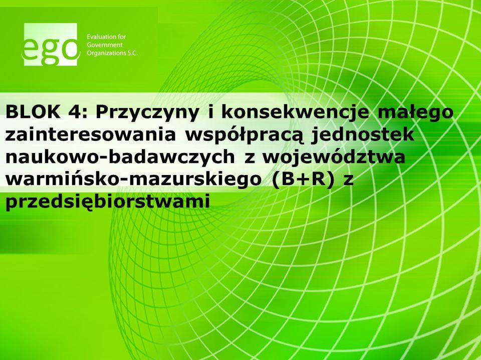 BLOK 4: Przyczyny i konsekwencje małego zainteresowania współpracą jednostek naukowo-badawczych z województwa warmińsko-mazurskiego (B+R) z przedsiębi