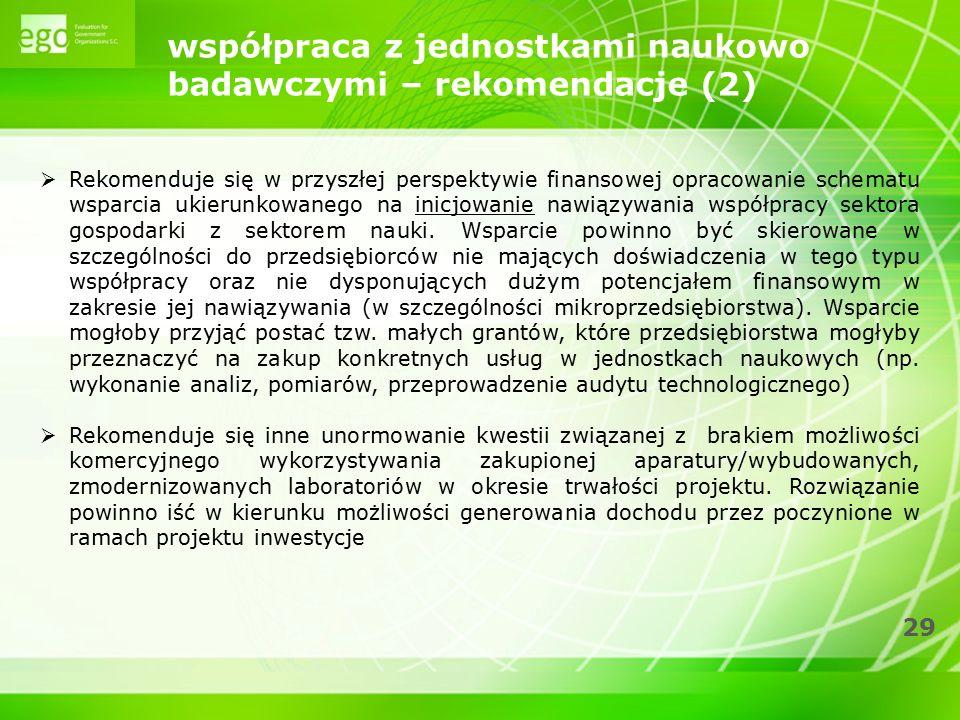 29 współpraca z jednostkami naukowo badawczymi – rekomendacje (2)  Rekomenduje się w przyszłej perspektywie finansowej opracowanie schematu wsparcia