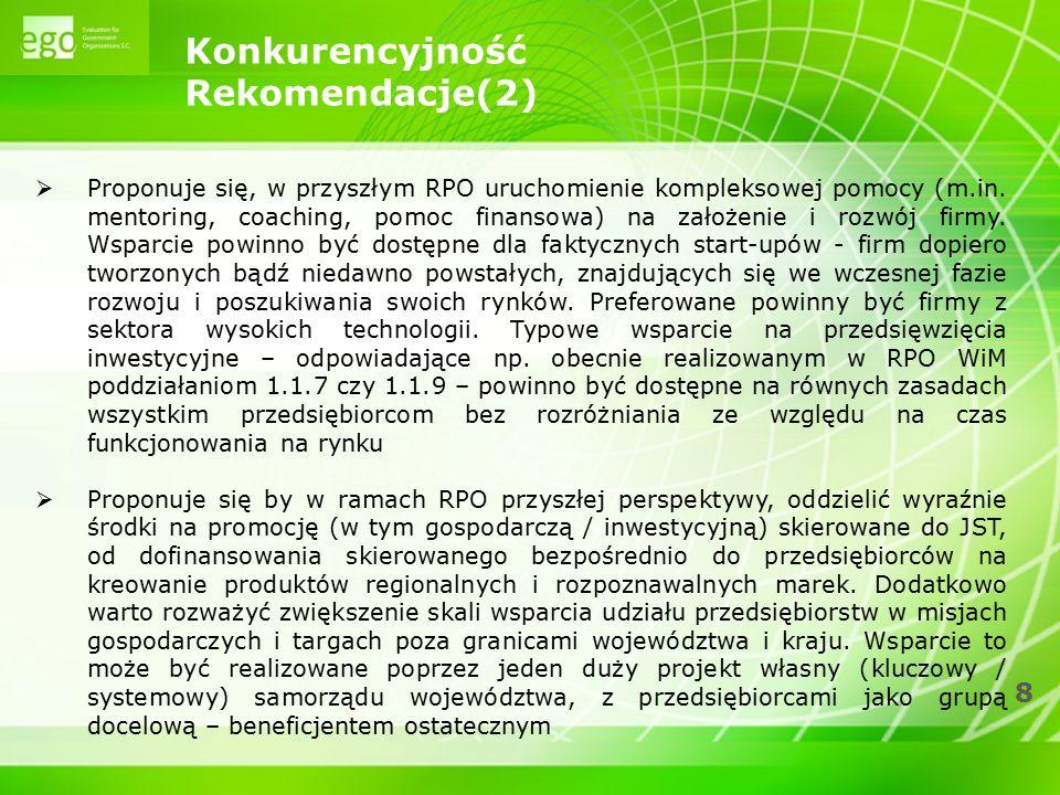 8 Konkurencyjność Rekomendacje(2)  Proponuje się, w przyszłym RPO uruchomienie kompleksowej pomocy (m.in. mentoring, coaching, pomoc finansowa) na za
