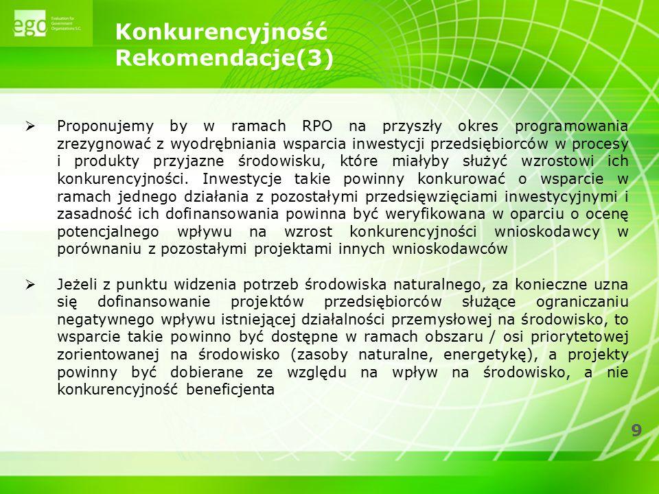 9 Konkurencyjność Rekomendacje(3)  Proponujemy by w ramach RPO na przyszły okres programowania zrezygnować z wyodrębniania wsparcia inwestycji przeds