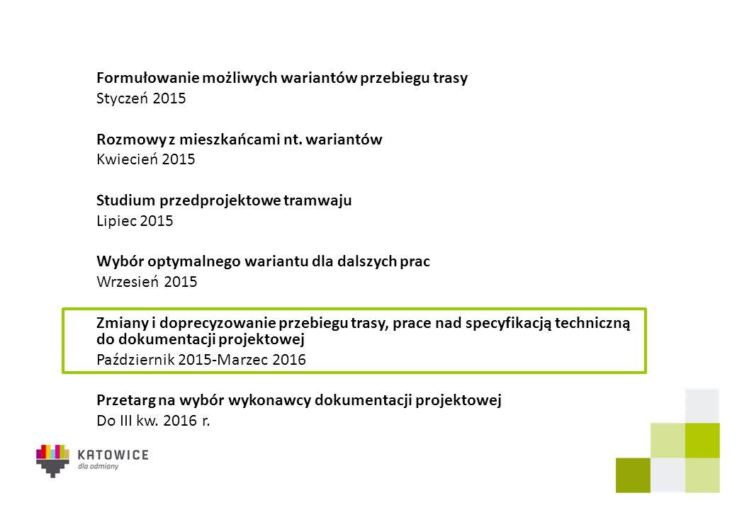 Formułowanie możliwych wariantów przebiegu trasy Styczeń 2015 Rozmowy z mieszkańcami nt. wariantów Kwiecień 2015 Studium przedprojektowe tramwaju Lipi