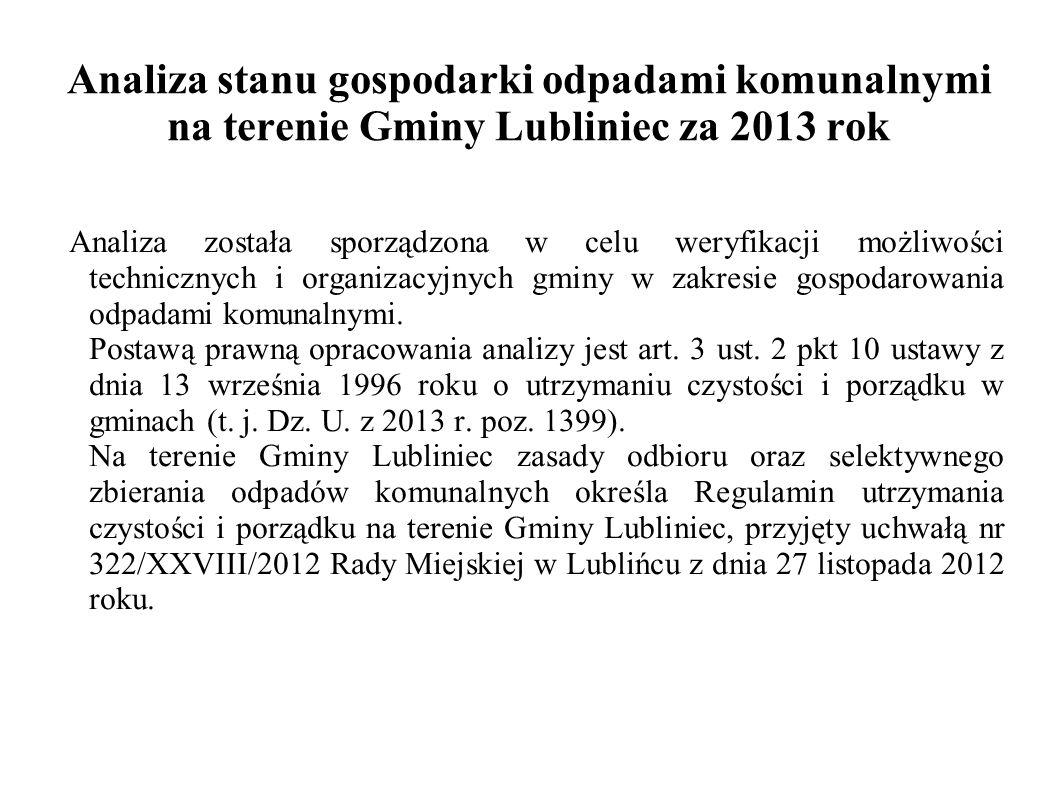 Analiza stanu gospodarki odpadami komunalnymi na terenie Gminy Lubliniec za 2013 rok Analiza została sporządzona w celu weryfikacji możliwości technicznych i organizacyjnych gminy w zakresie gospodarowania odpadami komunalnymi.