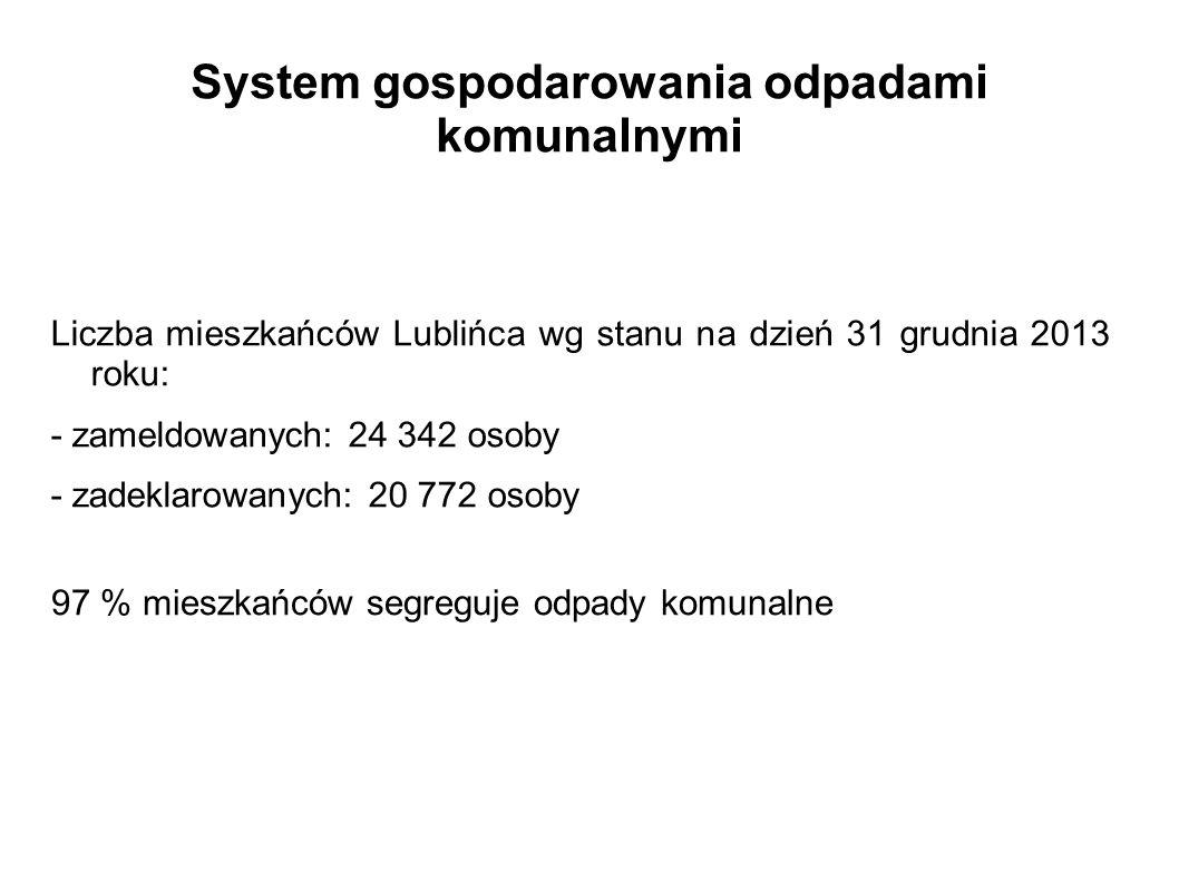 System gospodarowania odpadami komunalnymi Liczba mieszkańców Lublińca wg stanu na dzień 31 grudnia 2013 roku: - zameldowanych: 24 342 osoby - zadekla
