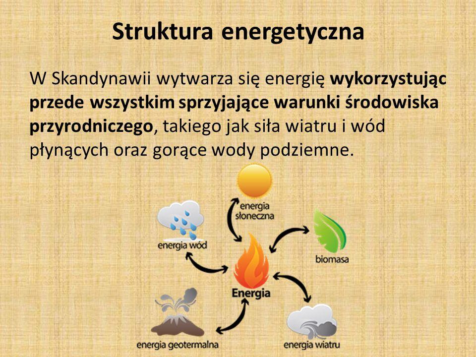 Struktura energetyczna W Skandynawii wytwarza się energię wykorzystując przede wszystkim sprzyjające warunki środowiska przyrodniczego, takiego jak siła wiatru i wód płynących oraz gorące wody podziemne.