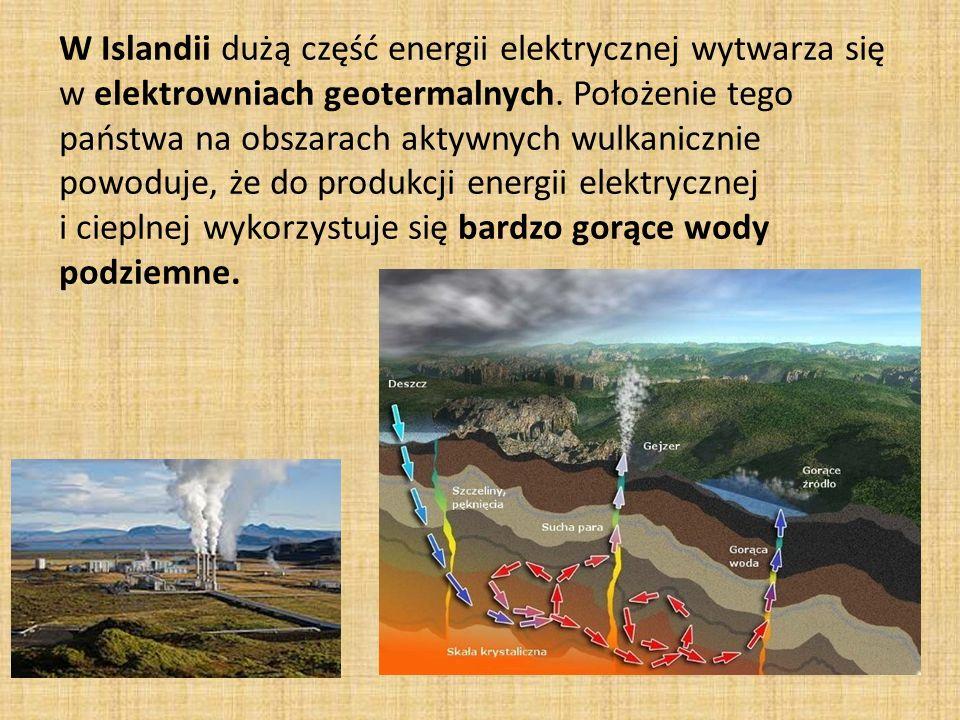 W Islandii dużą część energii elektrycznej wytwarza się w elektrowniach geotermalnych.