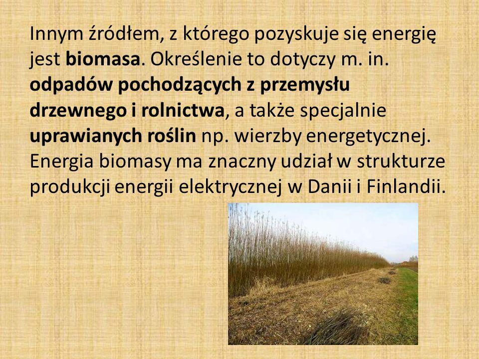 Innym źródłem, z którego pozyskuje się energię jest biomasa.