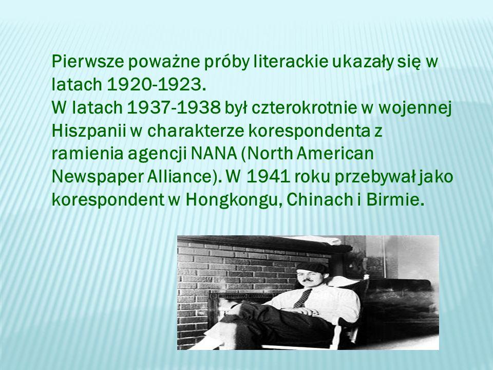Pierwsze poważne próby literackie ukazały się w latach 1920-1923.