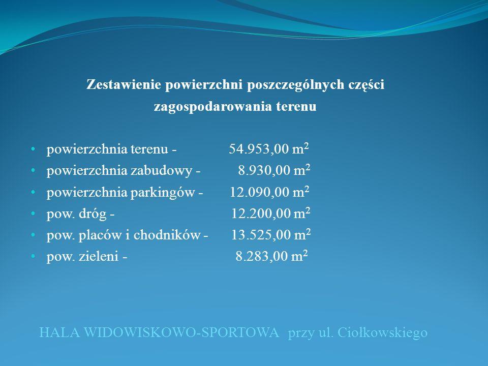 Zestawienie powierzchni poszczególnych części zagospodarowania terenu powierzchnia terenu - 54.953,00 m 2 powierzchnia zabudowy - 8.930,00 m 2 powierzchnia parkingów - 12.090,00 m 2 pow.