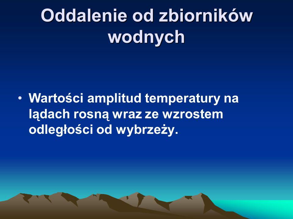 Oddalenie od zbiorników wodnych Wartości amplitud temperatury na lądach rosną wraz ze wzrostem odległości od wybrzeży.