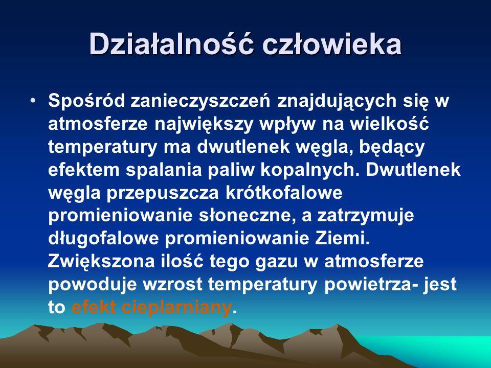 Działalność człowieka Spośród zanieczyszczeń znajdujących się w atmosferze największy wpływ na wielkość temperatury ma dwutlenek węgla, będący efektem