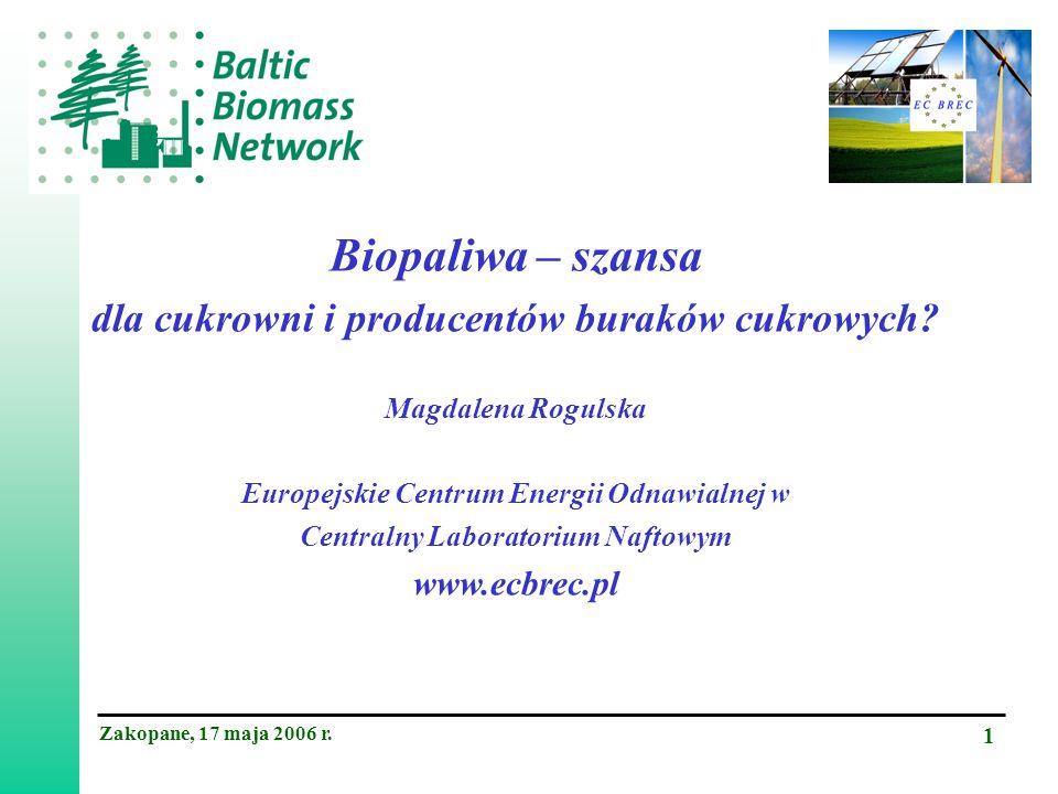 Zakopane, 17 maja 2006 r. 1 Biopaliwa – szansa dla cukrowni i producentów buraków cukrowych.