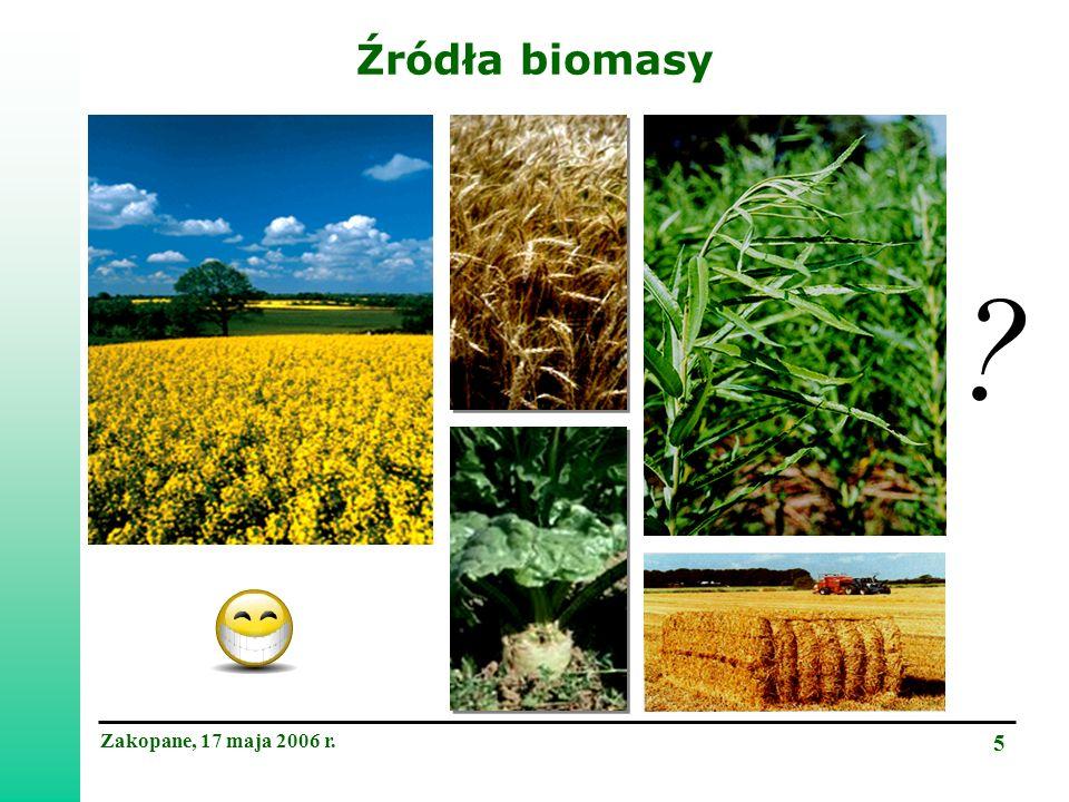 Zakopane, 17 maja 2006 r. 5 Źródła biomasy
