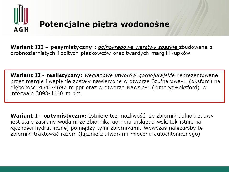 Potencjalne piętra wodonośne Wariant III – pesymistyczny : dolnokredowe warstwy spaskie zbudowane z drobnoziarnistych i zbitych piaskowców oraz twardych margli i łupków Wariant II - realistyczny: węglanowe utworów górnojurajskie reprezentowane przez margle i wapienie zostały nawiercone w otworze Szufnarowa-1 (oksford) na głębokości 4540-4697 m ppt oraz w otworze Nawsie-1 (kimeryd+oksford) w interwale 3098-4440 m ppt Wariant I - optymistyczny: Istnieje też możliwość, że zbiornik dolnokredowy jest stale zasilany wodami ze zbiornika górnojurajskiego wskutek istnienia łączności hydraulicznej pomiędzy tymi zbiornikami.