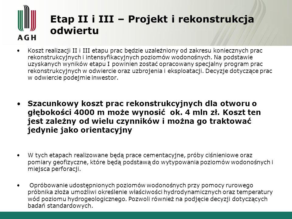 Etap II i III – Projekt i rekonstrukcja odwiertu Koszt realizacji II i III etapu prac będzie uzależniony od zakresu koniecznych prac rekonstrukcyjnych i intensyfikacyjnych poziomów wodonośnych.