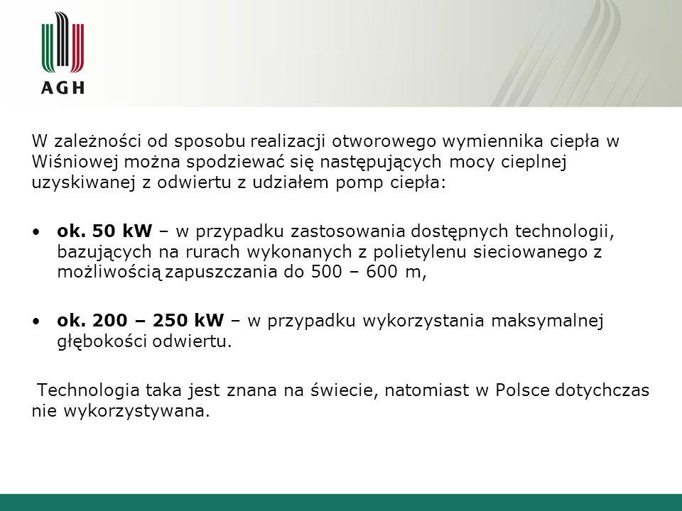 W zależności od sposobu realizacji otworowego wymiennika ciepła w Wiśniowej można spodziewać się następujących mocy cieplnej uzyskiwanej z odwiertu z udziałem pomp ciepła: ok.