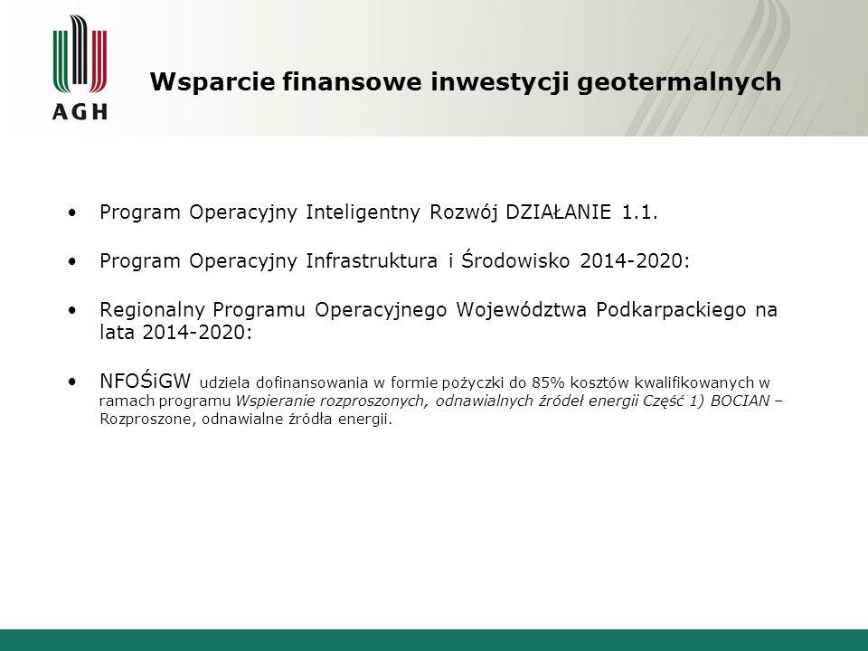 Wsparcie finansowe inwestycji geotermalnych Program Operacyjny Inteligentny Rozwój DZIAŁANIE 1.1.