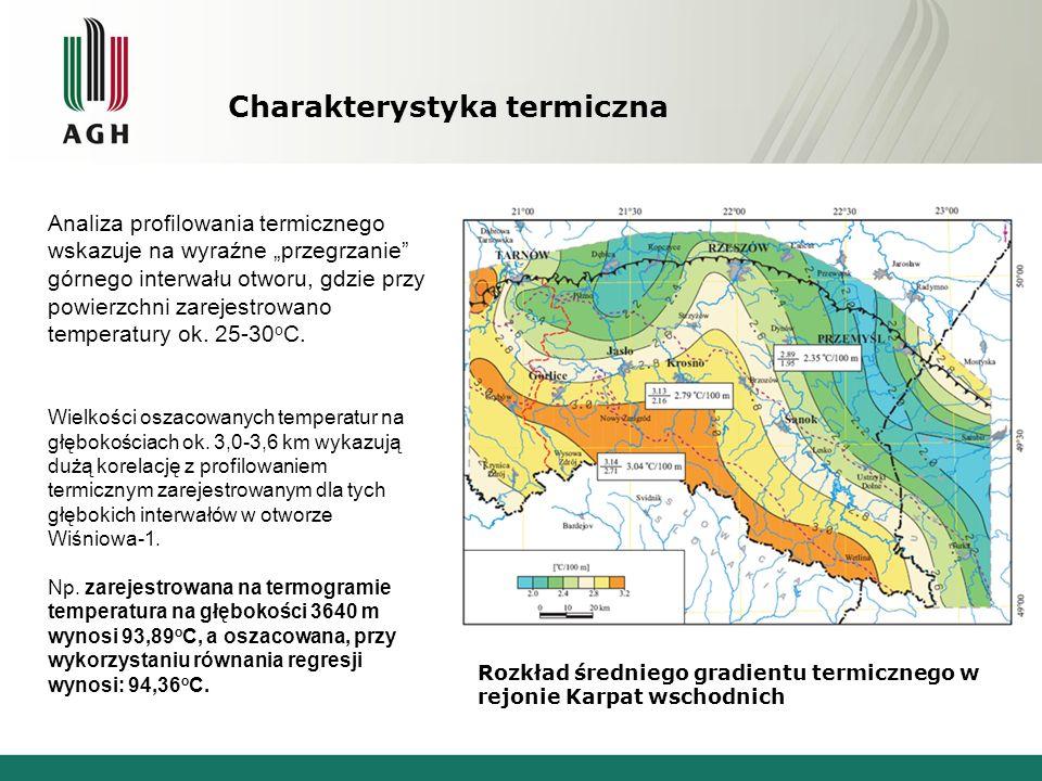 """Rozkład średniego gradientu termicznego w rejonie Karpat wschodnich Analiza profilowania termicznego wskazuje na wyraźne """"przegrzanie górnego interwału otworu, gdzie przy powierzchni zarejestrowano temperatury ok."""