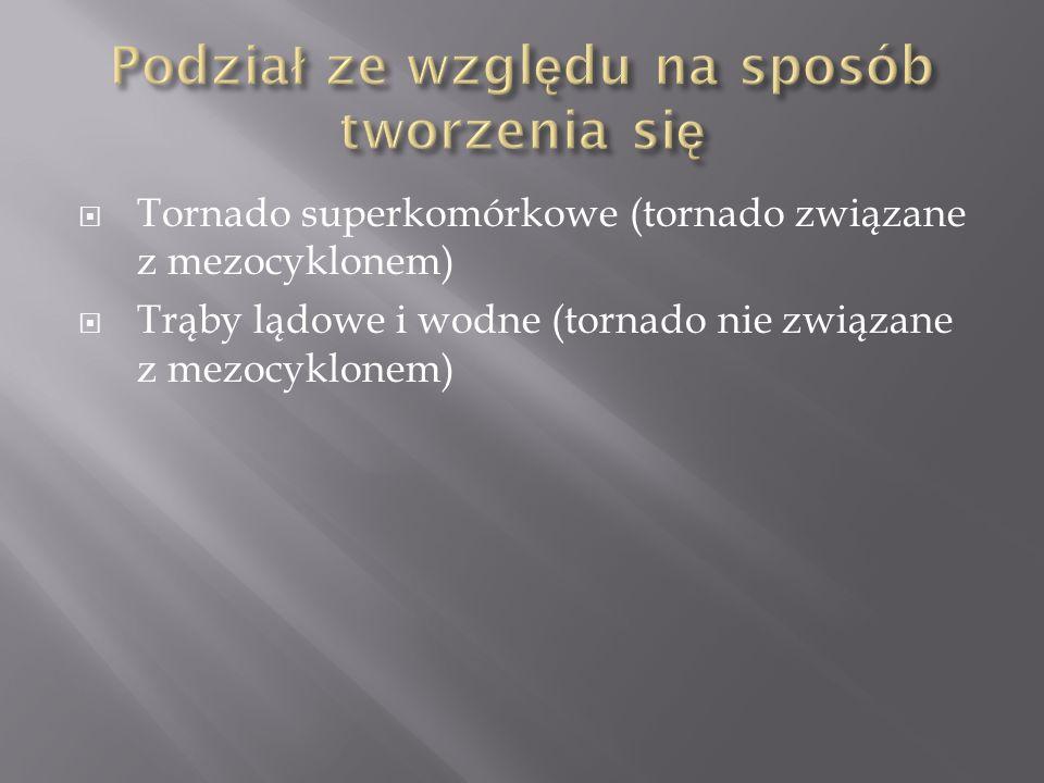  Tornado superkomórkowe (tornado związane z mezocyklonem)  Trąby lądowe i wodne (tornado nie związane z mezocyklonem)