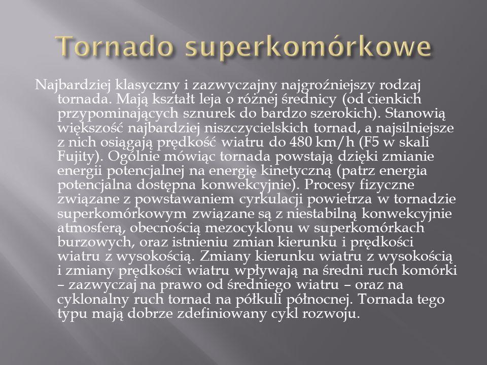 Najbardziej klasyczny i zazwyczajny najgroźniejszy rodzaj tornada.