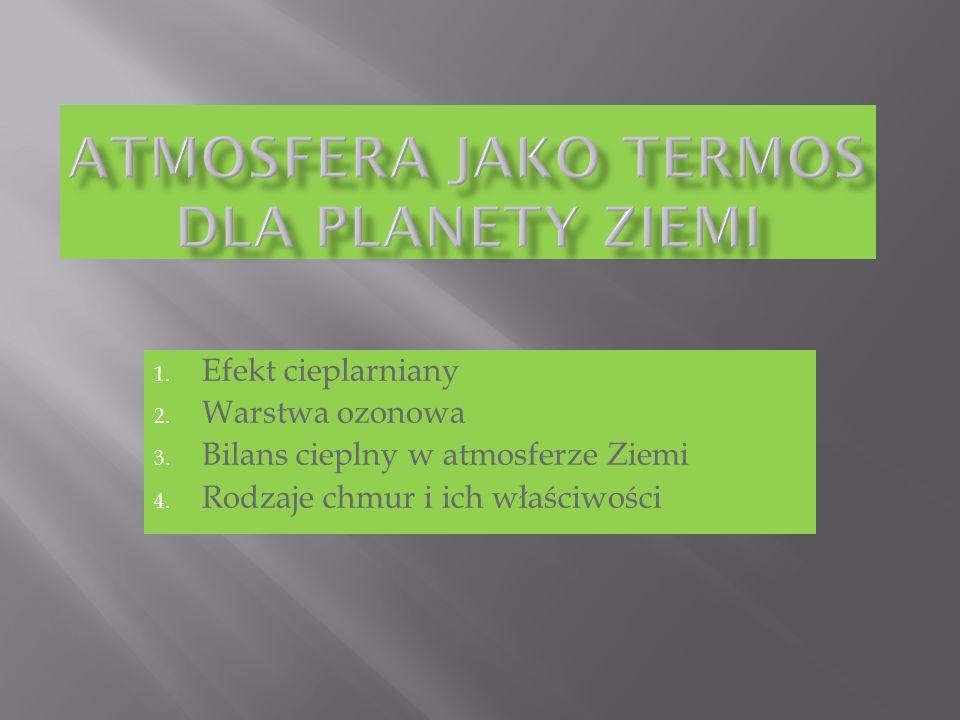 1. Efekt cieplarniany 2. Warstwa ozonowa 3. Bilans cieplny w atmosferze Ziemi 4. Rodzaje chmur i ich właściwości
