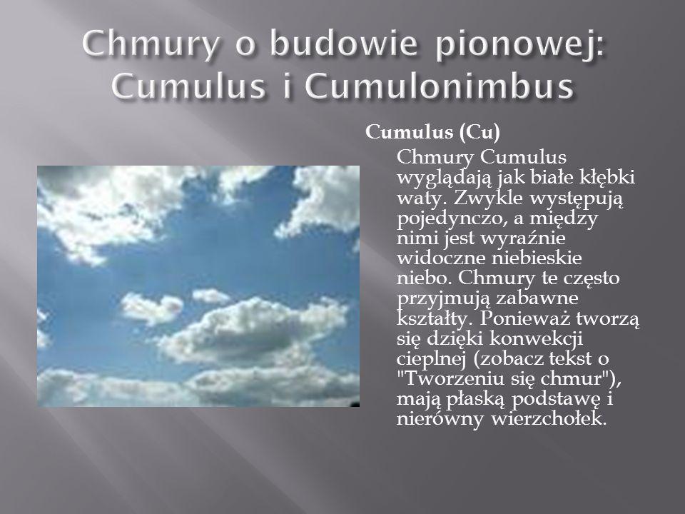 Cumulus (Cu) Chmury Cumulus wyglądają jak białe kłębki waty. Zwykle występują pojedynczo, a między nimi jest wyraźnie widoczne niebieskie niebo. Chmur