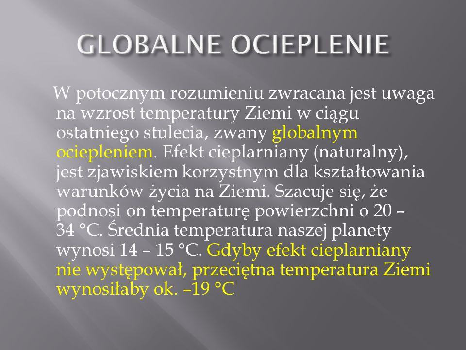 W potocznym rozumieniu zwracana jest uwaga na wzrost temperatury Ziemi w ciągu ostatniego stulecia, zwany globalnym ociepleniem. Efekt cieplarniany (n