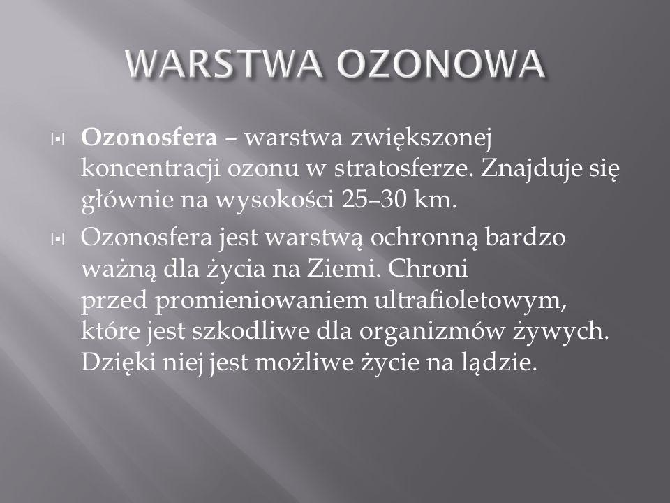  Ozonosfera – warstwa zwiększonej koncentracji ozonu w stratosferze. Znajduje się głównie na wysokości 25–30 km.  Ozonosfera jest warstwą ochronną b