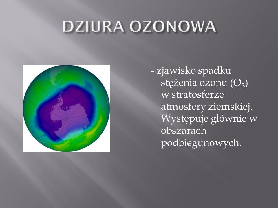 - zjawisko spadku stężenia ozonu (O 3 ) w stratosferze atmosfery ziemskiej. Występuje głównie w obszarach podbiegunowych.