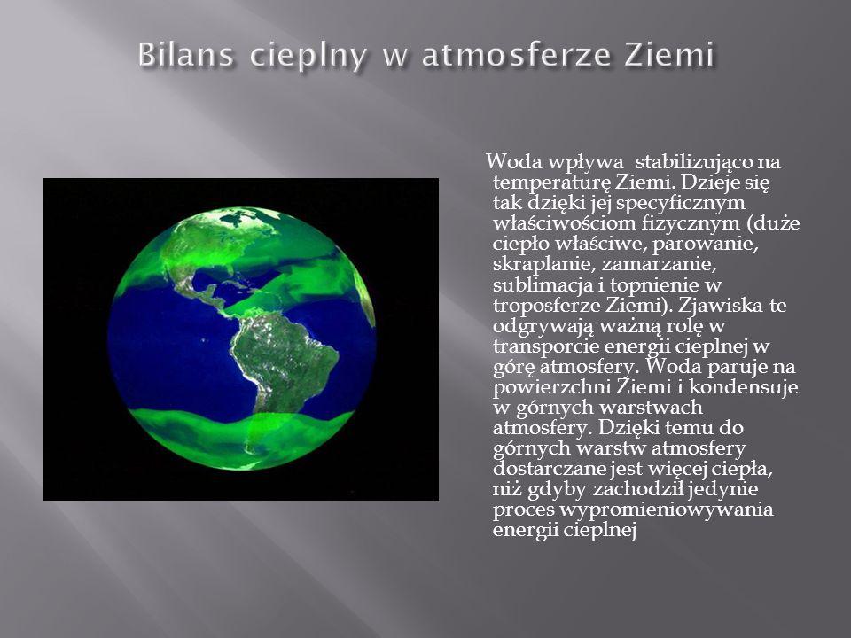 Woda wpływa stabilizująco na temperaturę Ziemi. Dzieje się tak dzięki jej specyficznym właściwościom fizycznym (duże ciepło właściwe, parowanie, skrap