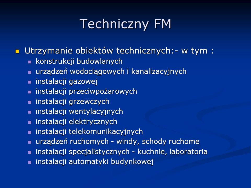 Techniczny FM Utrzymanie obiektów technicznych:- w tym : Utrzymanie obiektów technicznych:- w tym : konstrukcji budowlanych konstrukcji budowlanych ur
