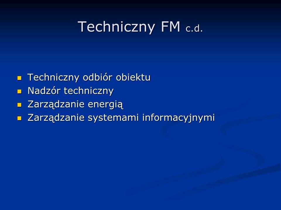 Techniczny FM c.d. Techniczny odbiór obiektu Techniczny odbiór obiektu Nadzór techniczny Nadzór techniczny Zarządzanie energią Zarządzanie energią Zar