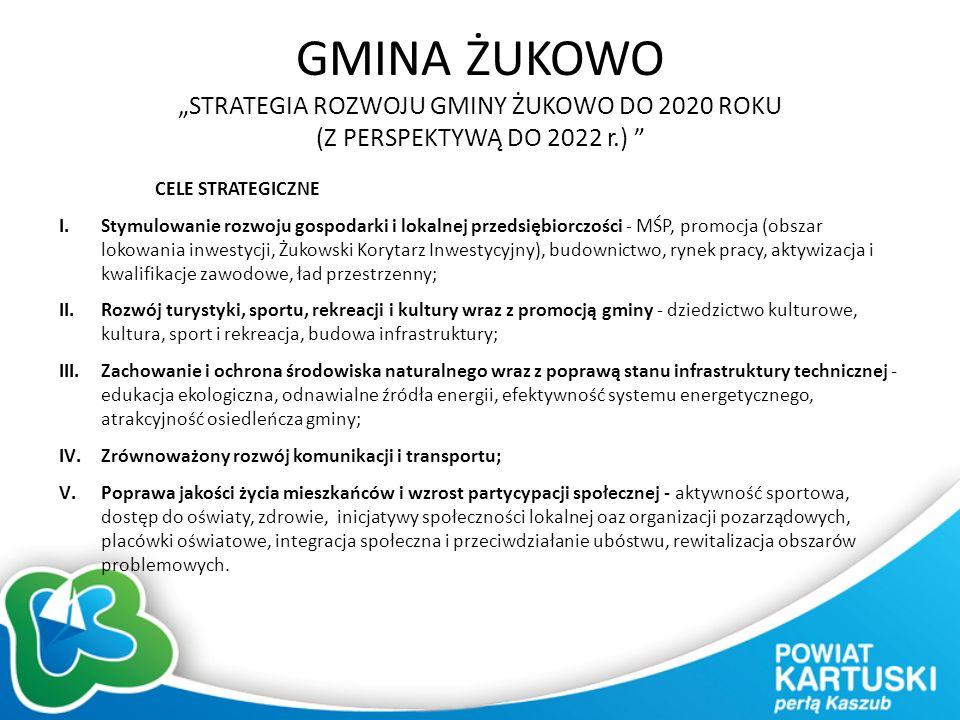 """GMINA ŻUKOWO """"STRATEGIA ROZWOJU GMINY ŻUKOWO DO 2020 ROKU (Z PERSPEKTYWĄ DO 2022 r.) CELE STRATEGICZNE I.Stymulowanie rozwoju gospodarki i lokalnej przedsiębiorczości - MŚP, promocja (obszar lokowania inwestycji, Żukowski Korytarz Inwestycyjny), budownictwo, rynek pracy, aktywizacja i kwalifikacje zawodowe, ład przestrzenny; II.Rozwój turystyki, sportu, rekreacji i kultury wraz z promocją gminy - dziedzictwo kulturowe, kultura, sport i rekreacja, budowa infrastruktury; III.Zachowanie i ochrona środowiska naturalnego wraz z poprawą stanu infrastruktury technicznej - edukacja ekologiczna, odnawialne źródła energii, efektywność systemu energetycznego, atrakcyjność osiedleńcza gminy; IV.Zrównoważony rozwój komunikacji i transportu; V.Poprawa jakości życia mieszkańców i wzrost partycypacji społecznej - aktywność sportowa, dostęp do oświaty, zdrowie, inicjatywy społeczności lokalnej oaz organizacji pozarządowych, placówki oświatowe, integracja społeczna i przeciwdziałanie ubóstwu, rewitalizacja obszarów problemowych."""
