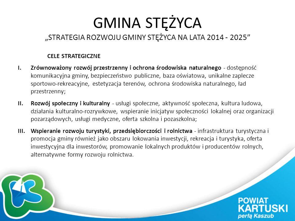 """GMINA STĘŻYCA """"STRATEGIA ROZWOJU GMINY STĘŻYCA NA LATA 2014 - 2025 CELE STRATEGICZNE I.Zrównoważony rozwój przestrzenny i ochrona środowiska naturalnego - dostępność komunikacyjna gminy, bezpieczeństwo publiczne, baza oświatowa, unikalne zaplecze sportowo-rekreacyjne, estetyzacja terenów, ochrona środowiska naturalnego, ład przestrzenny; II.Rozwój społeczny i kulturalny - usługi społeczne, aktywność społeczna, kultura ludowa, działania kulturalno-rozrywkowe, wspieranie inicjatyw społeczności lokalnej oraz organizacji pozarządowych, usługi medyczne, oferta szkolna i pozaszkolna; III.Wspieranie rozwoju turystyki, przedsiębiorczości i rolnictwa - infrastruktura turystyczna i promocja gminy również jako obszaru lokowania inwestycji, rekreacja i turystyka, oferta inwestycyjna dla inwestorów, promowanie lokalnych produktów i producentów rolnych, alternatywne formy rozwoju rolnictwa."""