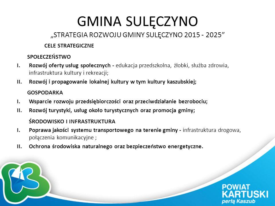 """GMINA SULĘCZYNO """"STRATEGIA ROZWOJU GMINY SULĘCZYNO 2015 - 2025 CELE STRATEGICZNE SPOŁECZEŃSTWO I.Rozwój oferty usług społecznych - edukacja przedszkolna, żłobki, służba zdrowia, infrastruktura kultury i rekreacji; II.Rozwój i propagowanie lokalnej kultury w tym kultury kaszubskiej; GOSPODARKA I.Wsparcie rozwoju przedsiębiorczości oraz przeciwdziałanie bezrobociu; II.Rozwój turystyki, usług około turystycznych oraz promocja gminy; ŚRODOWISKO I INFRASTRUKTURA I.Poprawa jakości systemu transportowego na terenie gminy - infrastruktura drogowa, połączenia komunikacyjne ; II.Ochrona środowiska naturalnego oraz bezpieczeństwo energetyczne."""