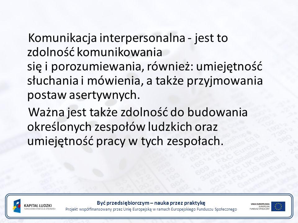 Być przedsiębiorczym – nauka przez praktykę Projekt współfinansowany przez Unię Europejską w ramach Europejskiego Funduszu Społecznego Traktując komunikację jako sposób porozumiewania się, można dokonać jej następującego podziału: komunikacja werbalna - nazywana również komunikacją słowną( znaczenie słów), zwykle dotyczy danego problemu, czyli tematu rzeczowego; komunikacja niewerbalna - nazywana także mową ciała; określa wzajemne relacje pomiędzy poszczególnymi rozmówcami; wskazuje na układ, jaki między nimi występuje.