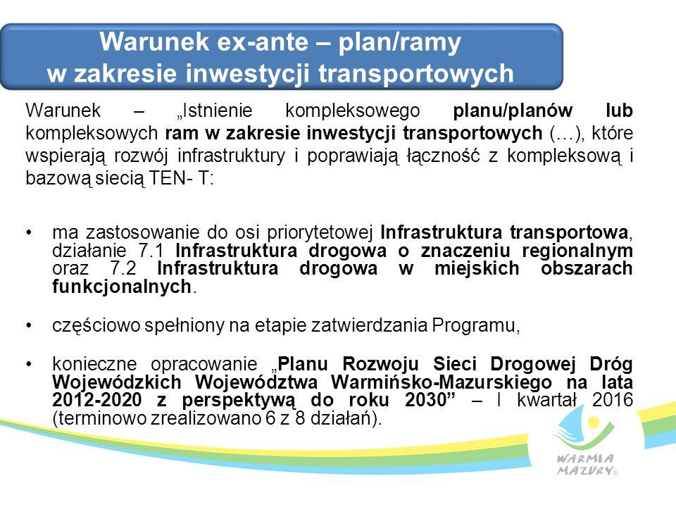 """Warunek – """"Istnienie kompleksowego planu/planów lub kompleksowych ram w zakresie inwestycji transportowych (…), które wspierają rozwój infrastruktury"""