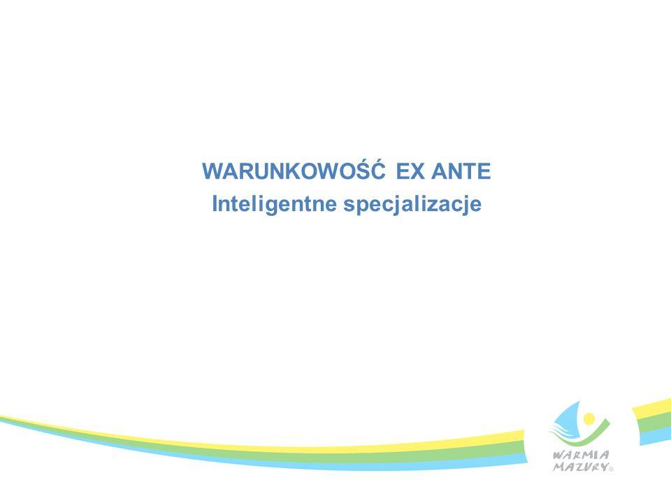 Inteligentne specjalizacje jako warunek ex-ante Zapis projektu rozporządzenia ogólnego (1303/2013): przedkładając projekt umowy partnerskiej bądź programu operacyjnego, państwo członkowskie weryfikuje spełnienie warunków ex-ante dla odpowiedniego celu tematycznego Inteligentna specjalizacja - warunek wstępny dla wspierania inwestycji w zakresie wzmacniania badań, rozwoju technologicznego i innowacji (Cel Tematyczny 1) Dotyczy Osi 1 Inteligentna gospodarka Warmii i Mazury RPO WiM 2014-2020 Działanie 1.1 Nowoczesna infrastruktura badawcza publicznych jednostek naukowych Działanie 1.2 Innowacyjne firmy Poddziałanie 1.2.1 Działalność B+R przedsiębiorstw Poddziałanie 1.2.2 Współpraca biznesu z nauką Poddziałanie 1.2.3 Profesjonalizacja usług ośrodków innowacji Warunek częściowo spełniony na etapie zatwierdzania Programu -.
