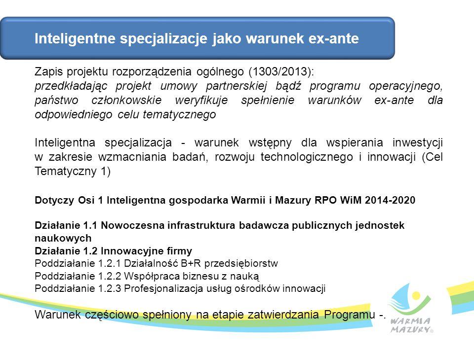 Inteligentne specjalizacje jako warunek ex-ante Zapis projektu rozporządzenia ogólnego (1303/2013): przedkładając projekt umowy partnerskiej bądź prog